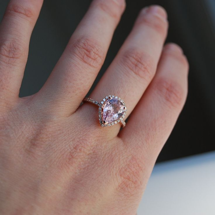 3.1ct Peach champagne tear drop sapphire rose gold diamond engagement ring. #etsy