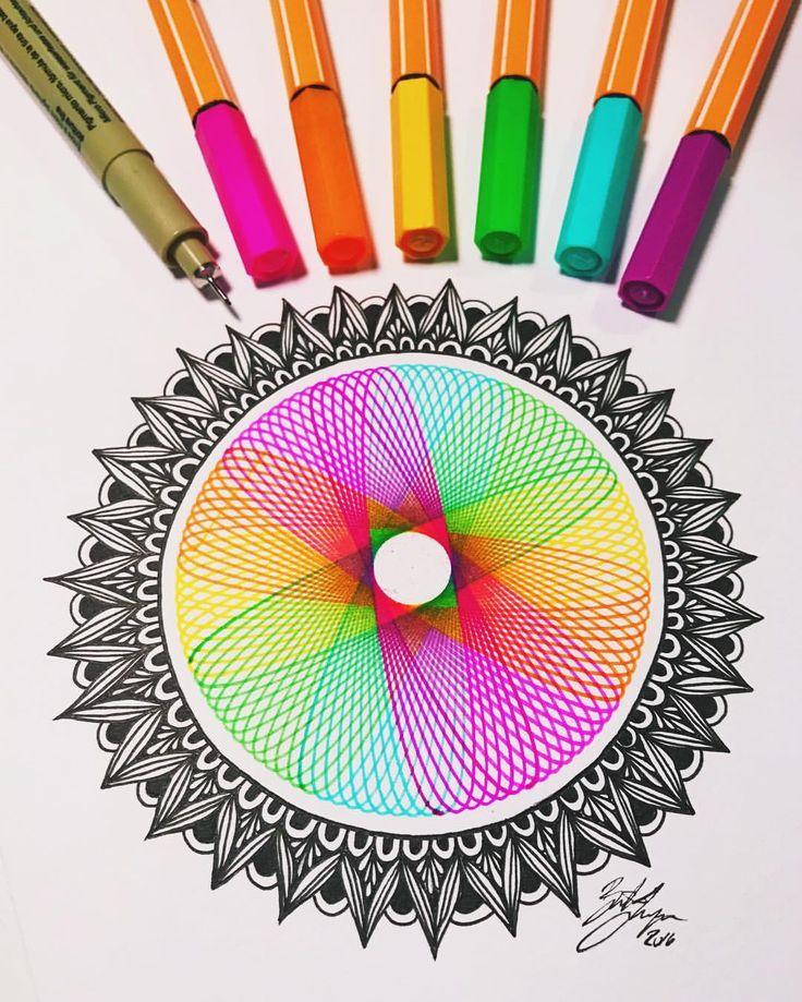 couldn't help but add a little black to the rainbow #spirograph #zentangle #zenspiredesigns