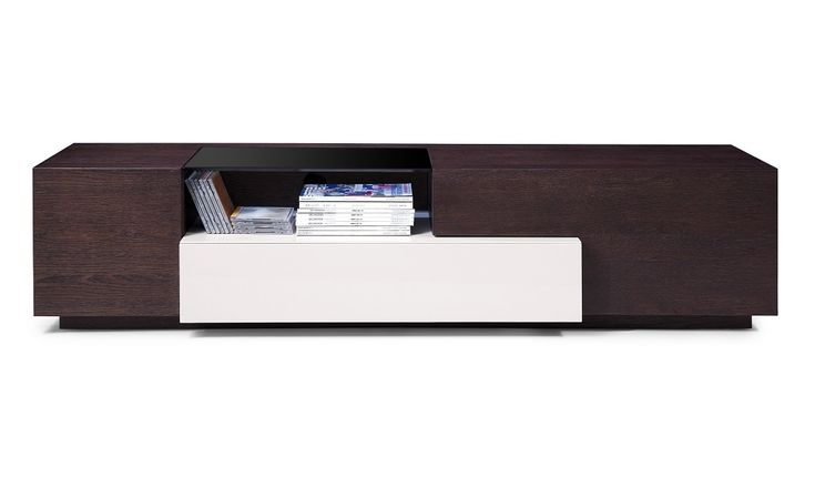 Tv015 Brown Oak Grey Lacquer Tv Stands Modern