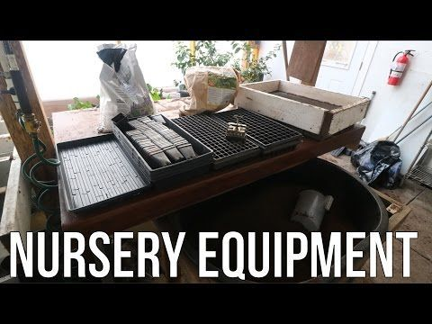 VIDEO Nursery equipment for the greenhouse, including a homemade soil screen and rolling soil bin on casters to slide under the table, via Urban Farmer Curtis Stone