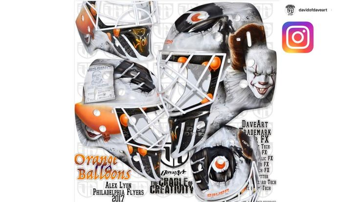 """Philadelphia Flyers prospect Alex Lyon, currently of the Lehigh Valley Phantoms of the AHL, will no doubt frighten opponents after having Pennywise the clown from the horror classic """"It"""" painted on his new helmet."""