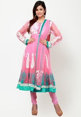 Pink coloured, embroidered Anarkali suit set for women by Barcode91. Crafted from net, it features flared fit. Paisley embroidery all over and green resham embroidery near the hem, this pink Anarkali suit set from Barcode91 would help you make a style statement that anyone could hardly surpass. The pure net fabric is lightweight and would maintain good air circulation so that you remain comfortable.