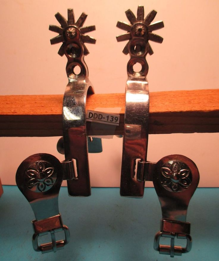 Hand Made Cowboy STAINLESS STEEL Spurs w/ Fancy Button & Buckle MAKE OFFER #AntiqueWestern