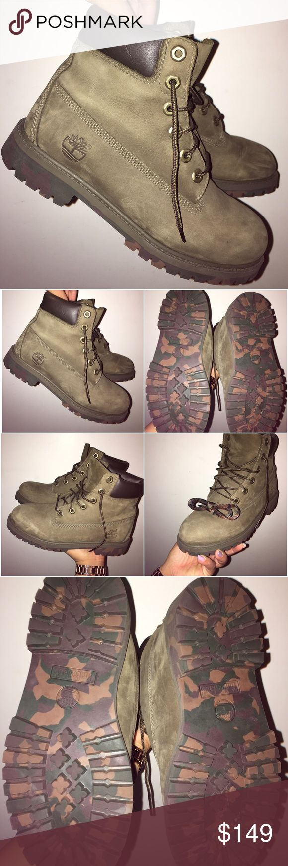 Limited Edition Rare Olive Green Timberlands This is a rare pair of camo/ olive green Timberlands MINT CONDITION. Price is firm due to rarity of item. Bottoms have almost no wear, no flaws on the shoe and comes with the extra set of camo laces! Comment below for any additional questions you may have. RUN VERY TRUE TO SIZE. KIDS 5/ WOMENS 7  Timberland Shoes Combat & Moto Boots