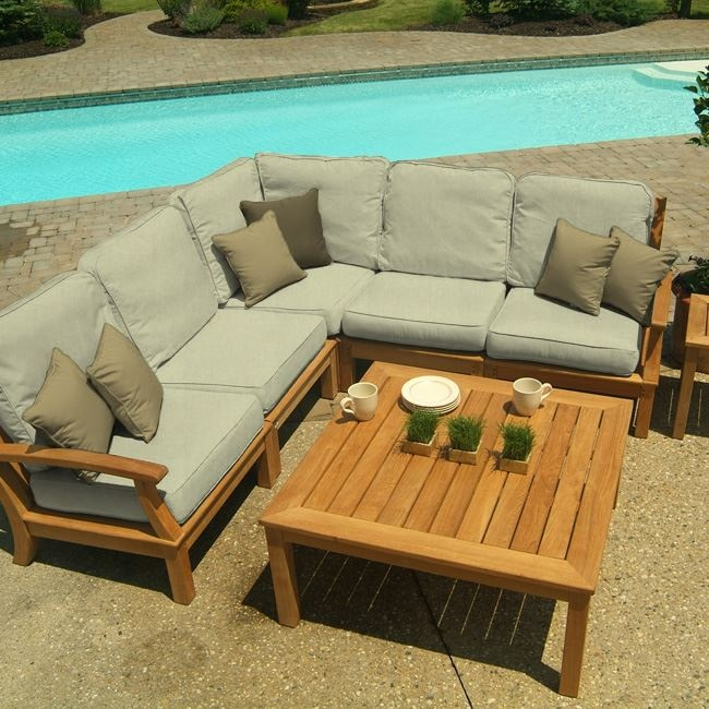 Carmel Sectional In Moss (491561974), Eco Friendly Outdoor Furniture | Outdoor  Teak Wood