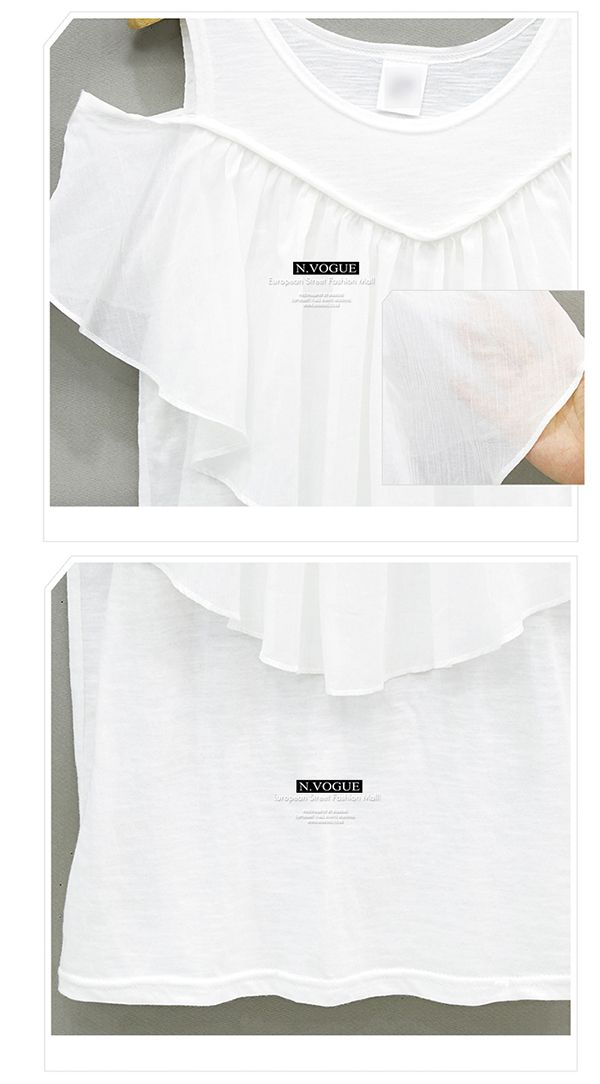 【店内全品送料無料】8/16 23:59まで。N.VOGUE(エヌヴォーグ)オフショルダーTシャツ【7/4up新作】【メール便120円】tシャツ タンクトップ オフショルダー 無地 シンプル フレア フリル コットン 綿 アイボリー 白 ブラック 黒 かわいい 夏 レディース ファッション 韓国 韓国 ファッション