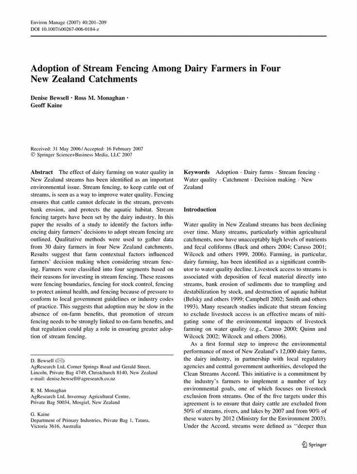 Adoption of Stream Fencing Among Dairy Farmers in Four New Zealand Catchments - Springer