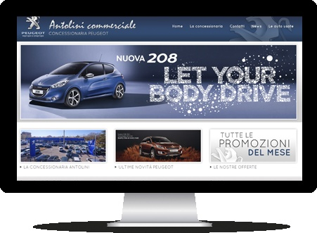 Per Antolini Commerciale abbiamo realizzato un sito internet graficamente in linea con il marchio Peugeot di cui sono rivenditori.   http://www.autovenezia.it/