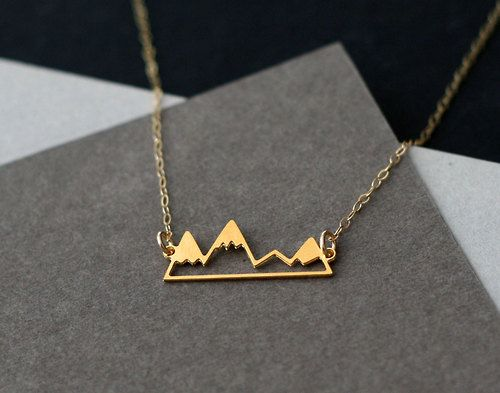 etsyfindoftheday 3 | 6.26.14 theme thursday: golden little golden mountain range necklace by wildthingstudiothis simplistic mountain design makes it perfect for everyday wear — it'll go with pretty much all of your outfits! i can see my sister-in-law rocking this with her park ranger gear in colorado :)