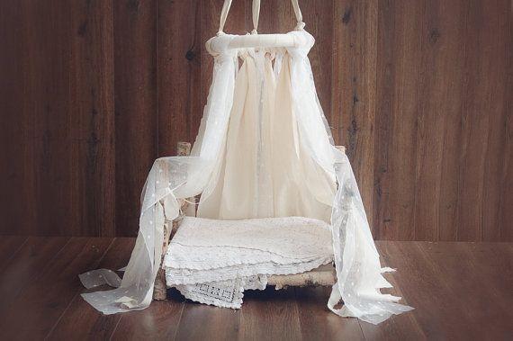 Newborn Canopy Photo Prop, hanging fabric canopy prop, lace and cotton fabric canopy photography prop
