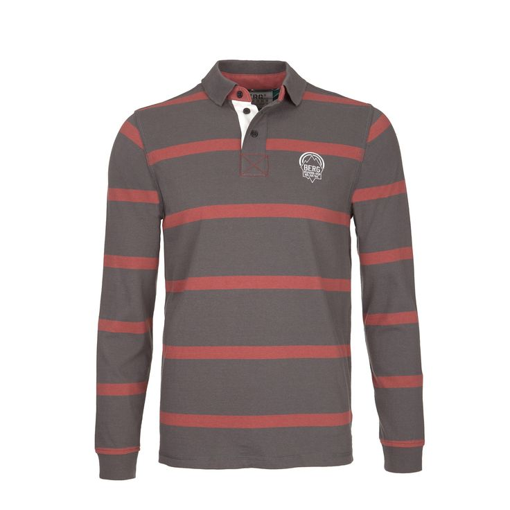 Long sleeve polo featuring horizontal stripes and elbow pads for a casual urban look.