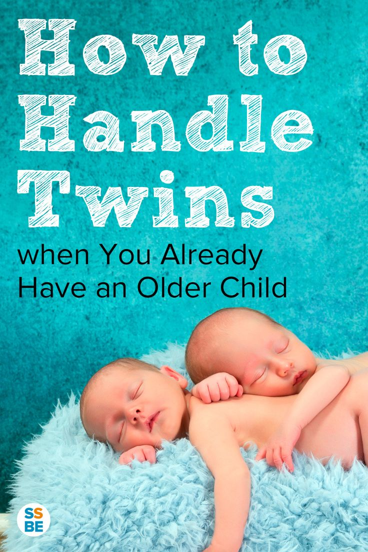 A resource for how to handle twins after a singleton. Taking care of all three (or more!) can be a challenge for even the most organized mom. Get practical tips on how to handle twins when you already have an older child. #twinmom