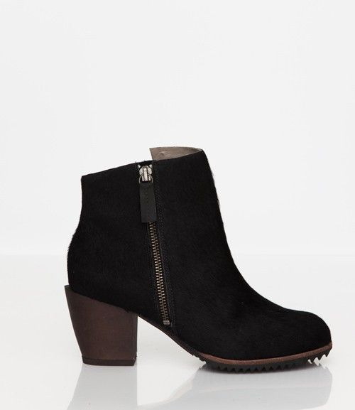 Skin by FINSK AW13: 465-02 P. BLACK Pony asymmetric zip ankle boot from Skin By FINSK
