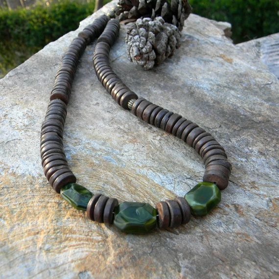 Mens beaded necklace brown and green mens by SongbirdCabinDesigns