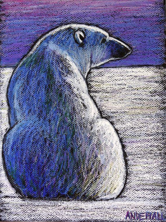 9x12 Original Oil Pastel Polar Bear Painting by AndeHallFineArt