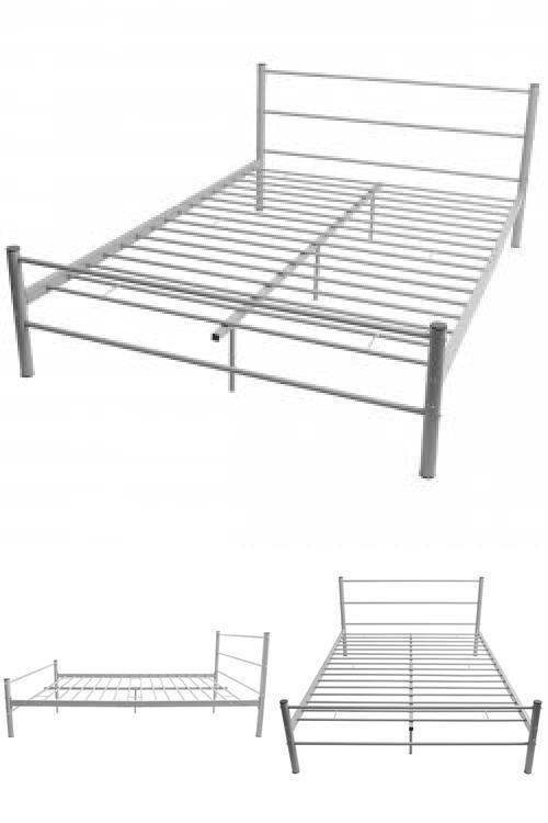 Grey Metal Bed Frame Double Modern Platform Slats Bedroom Guest Room Furniture