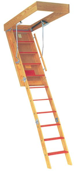 Disappearing Staircase Is Designed To Replace Conventional Folding Attic  Ladder And Fit Existing Folding Stair Openings. Wooden Stairs For Attic And  ...
