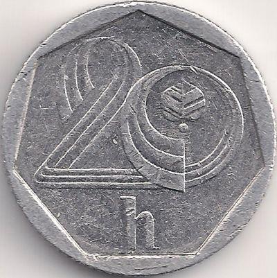 Wertseite: Münze-Europa-Mitteleuropa-Tschechien-Koruna-0.20-1993-2003