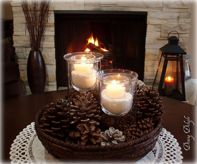Winter Centerpiece for Coffee Table by dining delight.
