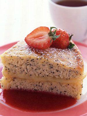 A guilt-free easy-on-your-waistband dessert! #treats #desserts #lowcalorieDesserts Recipe, Lemon Cake, Strawberries Sauces, Treats Desserts, Lemon Poppyseed, Cake W Strawberries, Low Fat Lemon, Lights Desserts, Poppyseed Cake