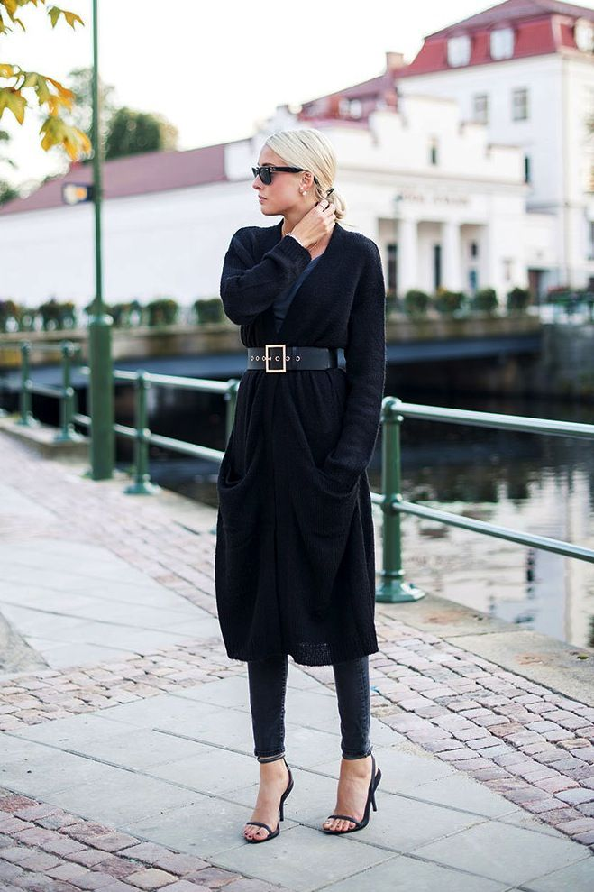 Le Fashion Blog -- Long Belted Cardigan, Low Bun, Double Pearl Earrings, Skinny Jeans & Heeled Sandals -
