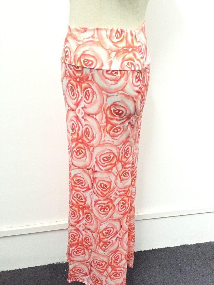 White Red Color Flower Printed Spandex Fabric Floor Length Skirt For Women