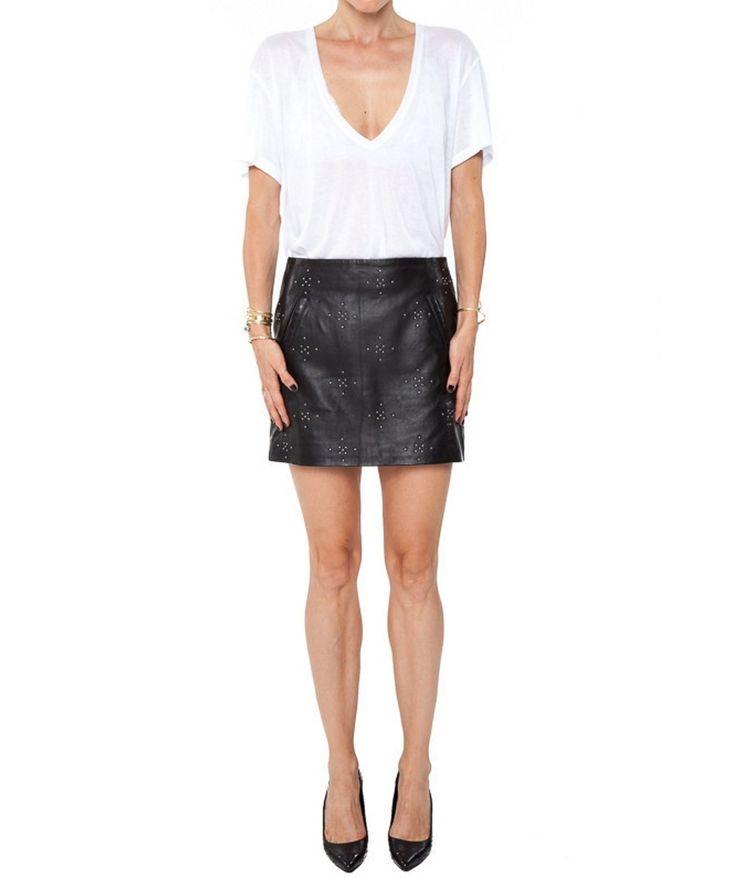 Falda de Cuero con Tachuelas  Tachas metálicas Cierre con cremallera 100% piel de cordero