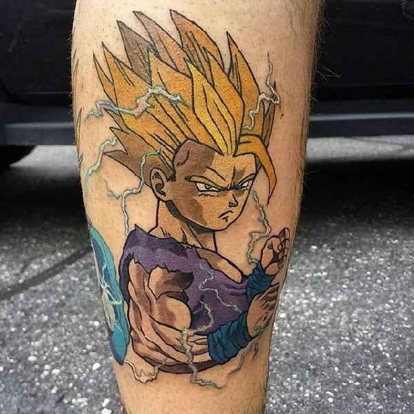 . Gohan ist einer der Hauptfiguren der Manga Serie Dragon Ball Z. Gohan ist der Sohn des Helden Goku. Gohan ist auch der erste hybrid der Serie (halb Mensch, halb Krieger-Rasse Saiyan). Für Manga-Fans sind die Figuren der Dragon Ball Z Geschichten beliebte Tattoo-Motive. Hier haben wir ein paar ori…