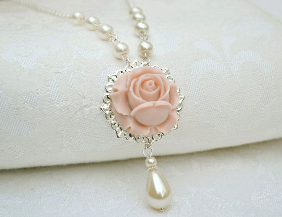 Flower necklace strand blush dusty pink by ArtemisBridalJewelry