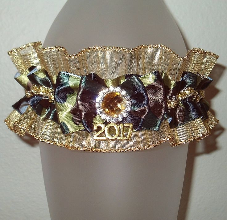 Camouflage Green Champagne Gold 2017 Prom Garter Browning Rhinestone Glitter Bling Sparkle Hunting Antler Archery Buck Deer Military Wedding by JazziGenShoppe on Etsy
