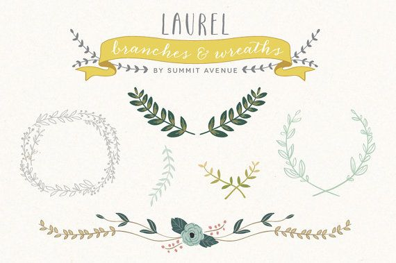 Vintage Laurel  Wreath design elements - for personal or photography use - INSTANT DOWNLOAD