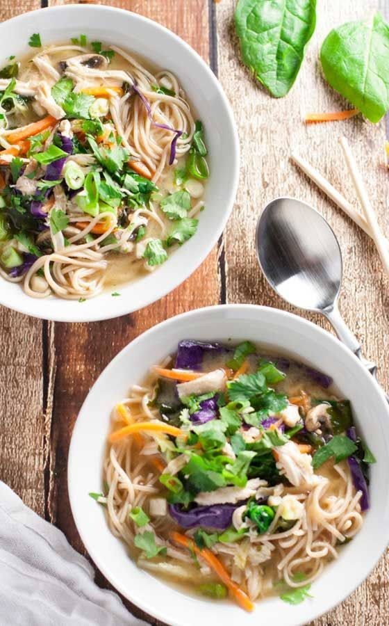 Miso Broth Bowl with Whole Wheat Noodles   WorldofPastabilities.com