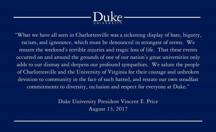 Duke University, president Vicent Price against Charlottesville racist protest 8/17.