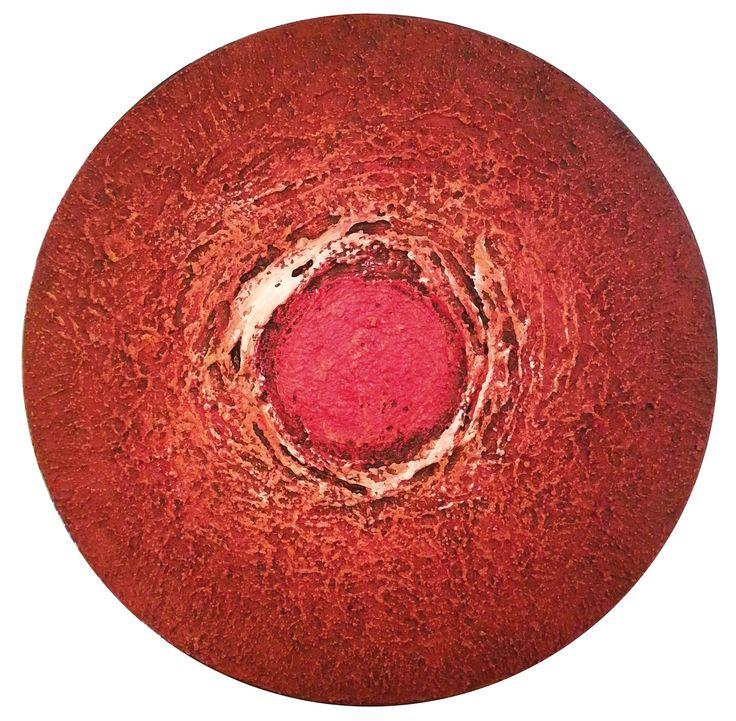 """Sole rosso"" 60x60xcm - tecnica mista su tela, 2014  di Roberta Recanatesi - www.robertarecanatesi.com - robyrer@libero.it"