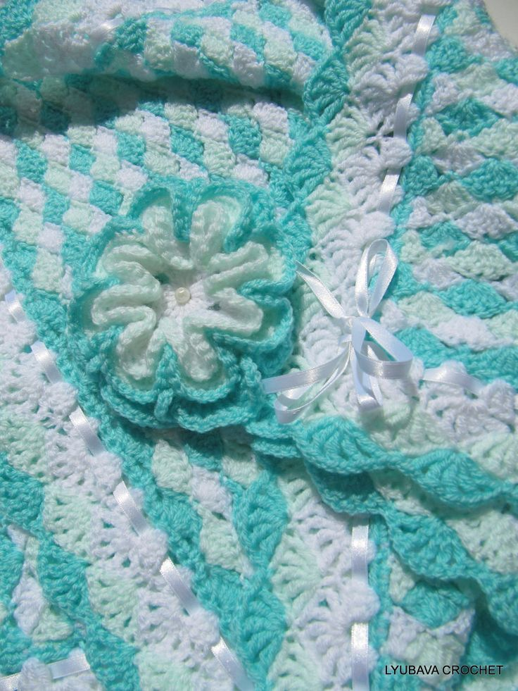 CROCHET PATTERN-Baby Blanket Turquoise Sea Shell-Baby ...