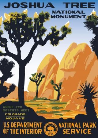 Joshua Tree National Monument WPA style poster, from rangerdoug.com. I want this super bad.