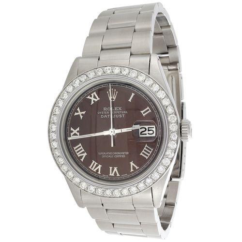 Mens Rolex DateJust Diamond Watch 36mm Custom Brown Roman Numeral Dial 1.90 CT.