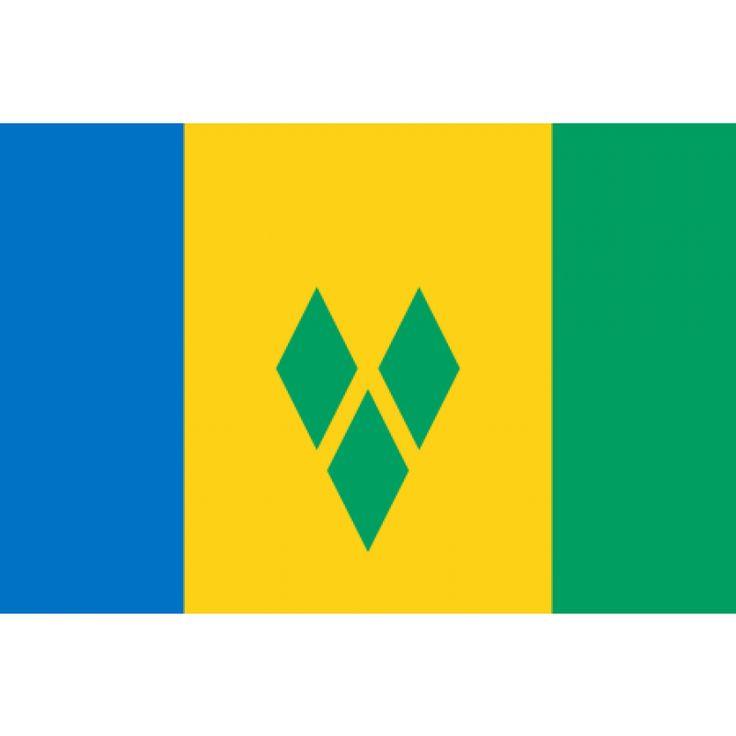 Tafelvlaggen Saint Vincent en de Grenadines 10x15cm   Saint Vincent en de Grenadines tafelvlag De vlag van Saint Vincent en de Grenadines werd aangenomen op 21 oktober 1985. De vlag bestaat uit drie verticale banen in de kleuren blauw (links), geel en groen, waarbij de gele baan breder is dan de andere twee. In het midden van de gele baan staan drie groene ruiten in een V-vorm.