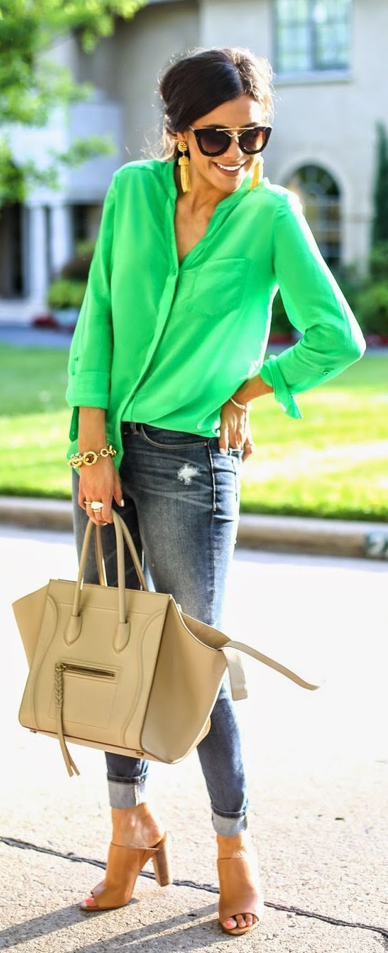 Green On Denim Streetstyle by The Sweetest Thing