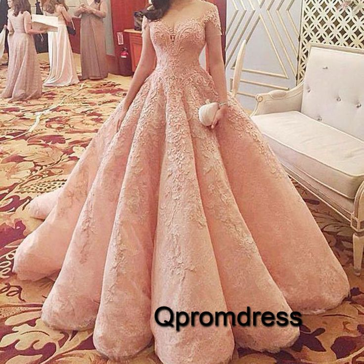 Vintage prom dress, ball gown, elegant pink lace prom dress