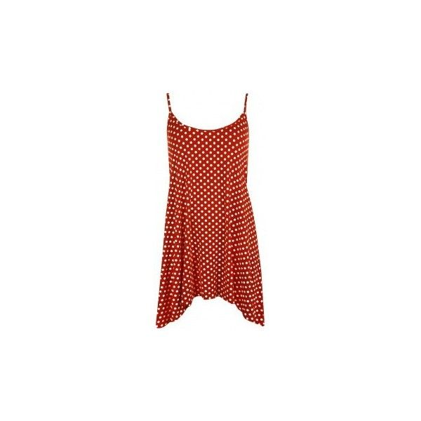 Isa Polka Dot Print Cami Top ($22) ❤ liked on Polyvore featuring tops, plus size red tops, red camisole top, women plus size tops, red top and summer tops