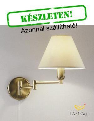 - KOL-264.61.4 - Antik réz csuklós falikar szövet lámpaernyővel,húzókapcsolóval.