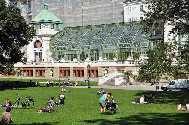 The iron-and-glass butterfly pavilion at the Burggarten ...