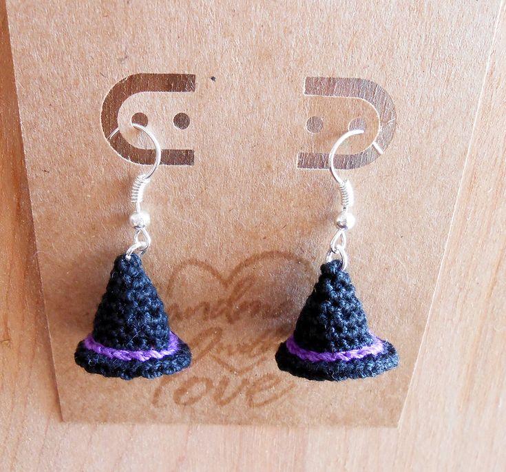 Witch Hat Crochet Earrings free patern