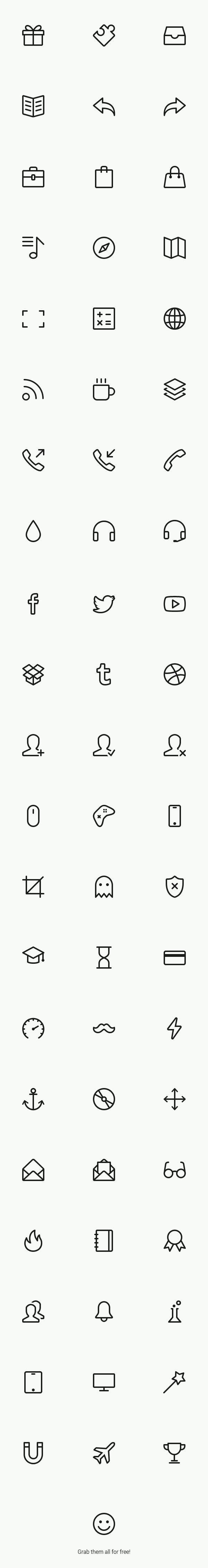 Simple Line Icons (Free PSD, Webfont) by GraphicBurger , via Behance