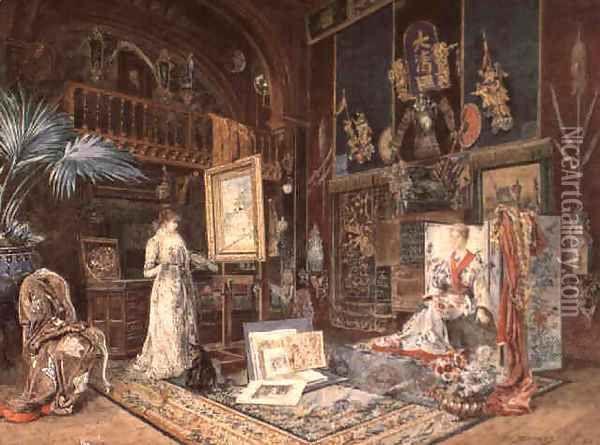 Rue Fortuny, un luogo che Fred aveva avuto modo di esaminare e che gli era parso coniugare la casa signorile allo studio d'artista. Pareti tappezzate di velluto, pappagalli appollaiati su busti di marmo, vasi grandi quanto garitte e un intrico di piante pendule e rampicanti da eguagliare i Kew Gardens. [L'Atelier De Sarah Bernhard 1885 Oil Painting - Marie Desire Bourgoin]