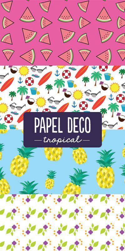 Papel deco con temas tropicales para tus proyectos. Usalo con esta tendencia tan fresca y frutal #trendy #frutitas #PapelDeco #scrapbook #tarjetas