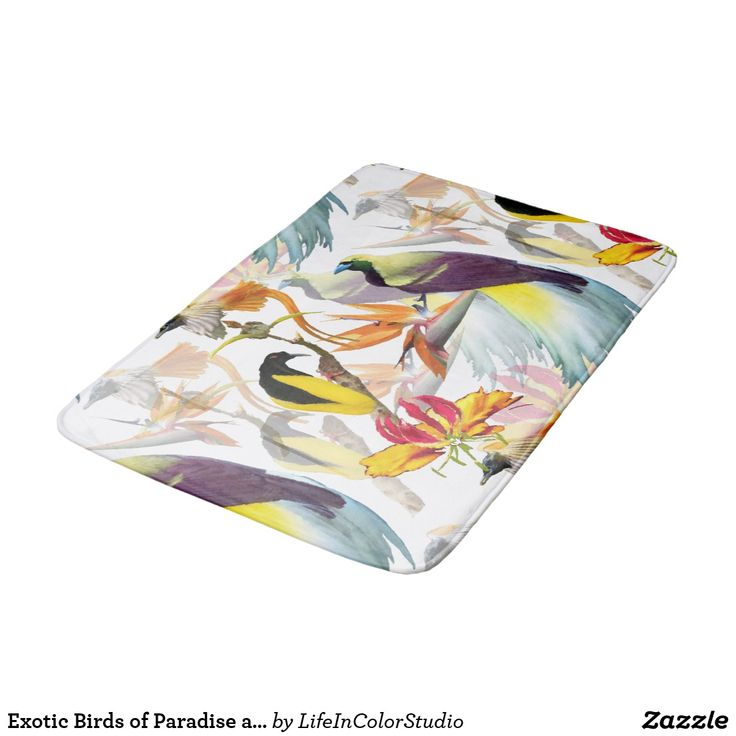 Exotic Birds of Paradise and Flowers Watercolor Bath Mat Colorful and exotic Birds of Paradise and flowers pattern. A watercolor art design featuring Strelitzia flowers and Tropical Rainforest Birds of Paradise in vivid colors. Press customize to add your own touch.  #bathmat #birdsofparadise #exotic #tropicalbirds