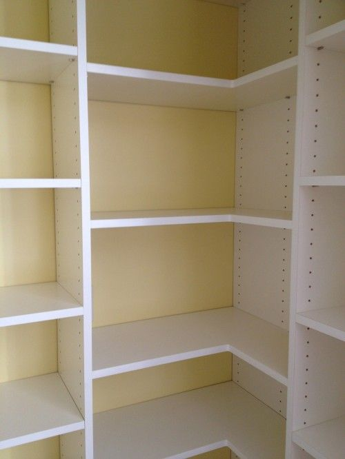 pantry corner shelves for Mom's pantry - See how they are supported in the corner.