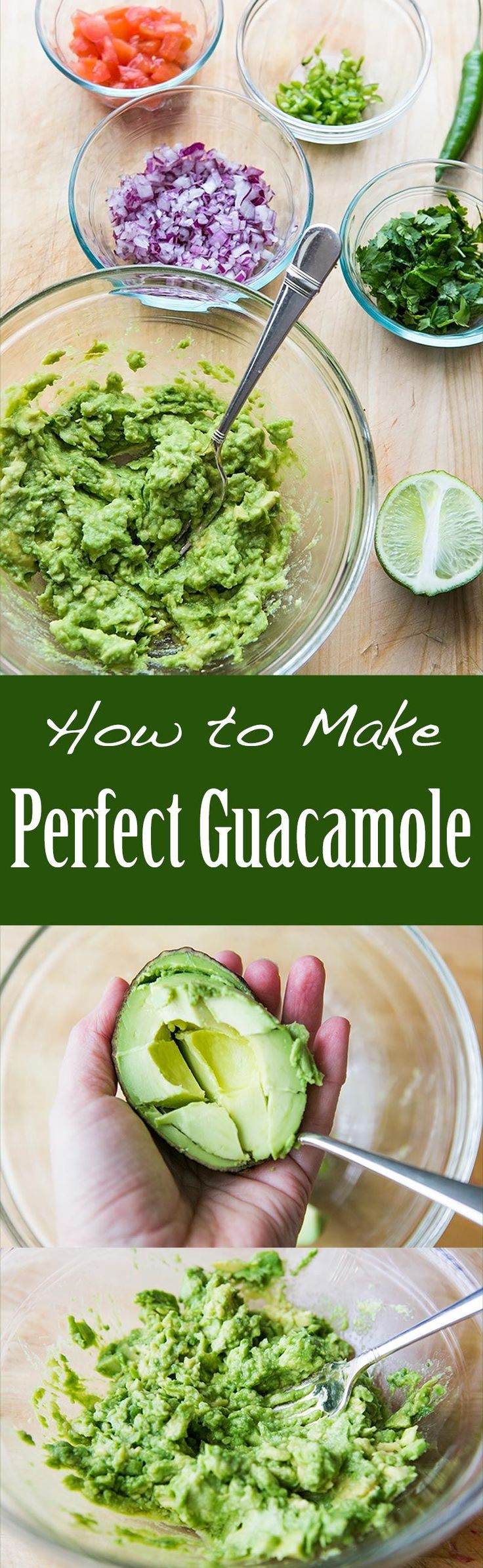 BEST guacamole ever! So EASY to make with ripe avocados, salt, serrano chiles, cilantro and lime. On SimplyRecipes.com #SuperBowl
